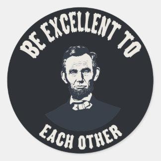 Lincoln - sea excelente pegatina redonda