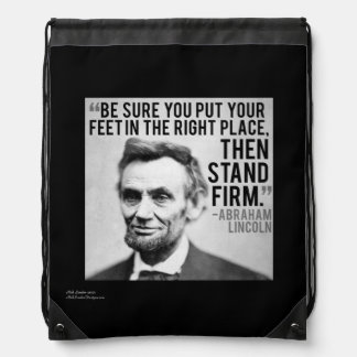 Lincoln & Stand Firm Quote Drawstring Backpack