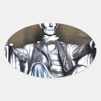 Lincoln Statue Oval Sticker