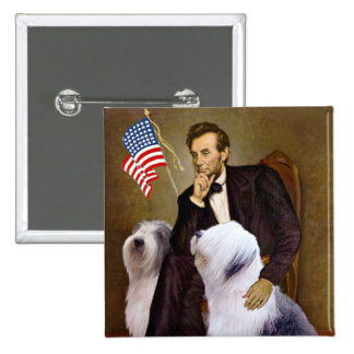 Lincoln - Two Old English Sheepdogs Pinback Button
