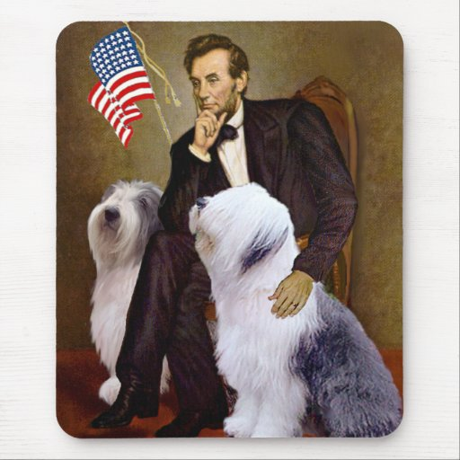 Lincoln - Two Old English Sheepdogs Mouse Pad