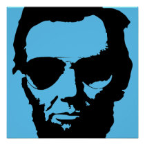 Lincoln with Aviator Sunglasses (Black) Poster