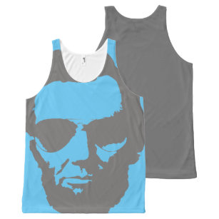 cee67c54a31e83 Lincoln with Aviator Sunglasses - Gray All-Over-Print Tank Top