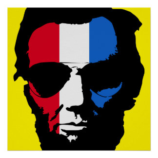 Lincoln with Aviator Sunglasses - Red White Blue Poster
