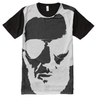 Lincoln with Aviator Sunglasses - White All-Over-Print T-Shirt