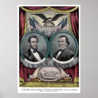 Lincoln y bandera 1864 de la elección de Johnson Póster