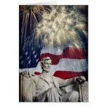 Lincoln y fuegos artificiales felicitacion