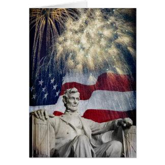 Lincoln y fuegos artificiales tarjeta de felicitación