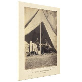 Lincoln y GEN McClellan en el campo de batalla Ant Impresiones En Lona