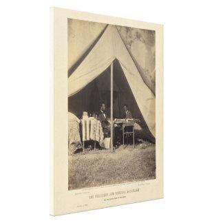 Lincoln y GEN McClellan en el campo de batalla Ant Lona Estirada Galerías