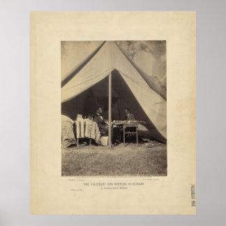 Lincoln y GEN McClellan en el campo de batalla Ant Póster