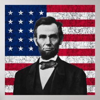 Lincoln y la bandera americana impresiones