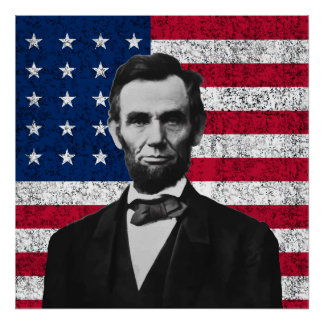 Lincoln y la bandera americana póster