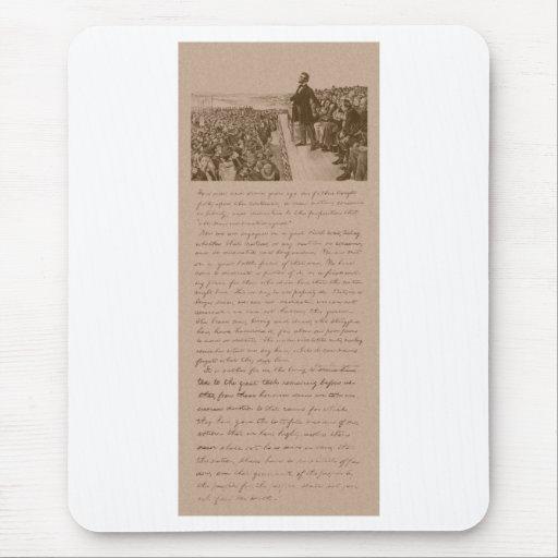Lincoln y la dirección de Gettysburg Alfombrillas De Ratones