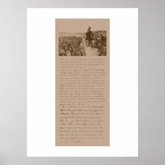 Lincoln y la dirección de Gettysburg Posters