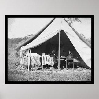 Lincoln y McClellan en Antietam 1862 Póster