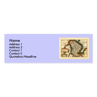 Lincolneshire County Map, England Double-Sided Mini Business Cards (Pack Of 20)