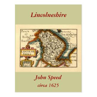 Lincolneshire County Map England Postcard