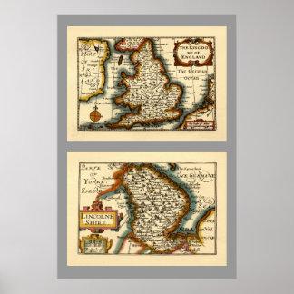 Lincolneshire County Map, England Print
