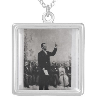 Lincoln's Address at Gettysburg, 1895 Silver Plated Necklace