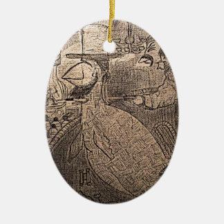 Lincolns el momento pasado adorno navideño ovalado de cerámica