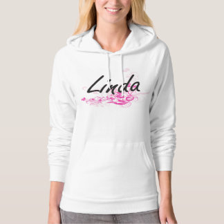 Linda Artistic Name Design with Flowers Hooded Pullover
