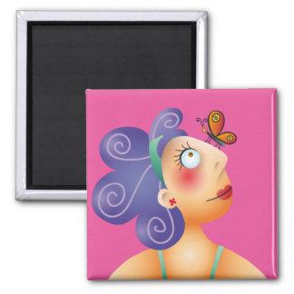 Linda chica y su mariposa 2 inch square magnet