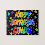 "[ Thumbnail: ""Linda"" First Name, Fun ""Happy Birthday"" Jigsaw Puzzle ]"