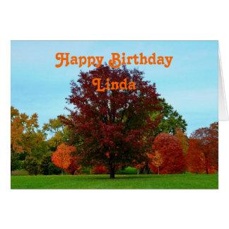 Linda Happy Birthday Red Oak Tree in Autumn Card