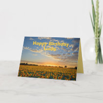 Linda Happy Birthday Sunflowers at Sunset Card