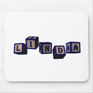 Linda toy blocks in blue mouse pad