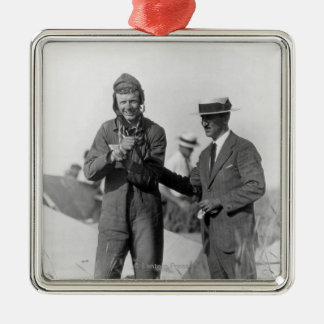 Lindbergh and Wright - Wrecked Plane Metal Ornament