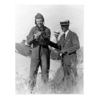 Lindbergh and Wright - Wrecked Plane Postcard