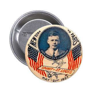 Lindbergh - botón pin redondo de 2 pulgadas