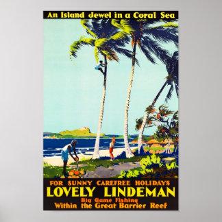 Lindeman Island Australia Vintage Travel Poster