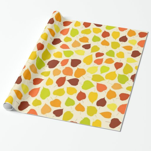 Linden tree autumn leaves gift wrap