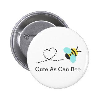 Lindo al igual que abeja pin redondo de 2 pulgadas