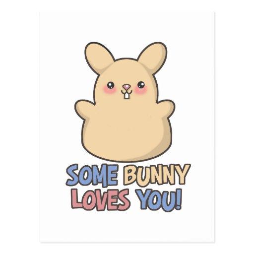 Lindo algún conejito le ama Pascua Tarjeta Postal
