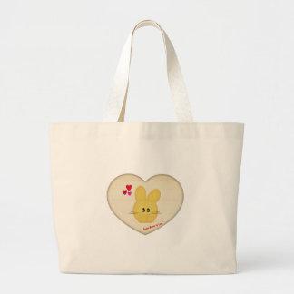 Lindo algún conejito para amar adorno del corazón bolsa tela grande