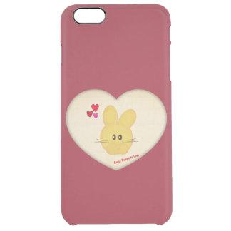 Lindo algún conejito para amar adorno del corazón funda clearly™ deflector para iPhone 6 plus de unc