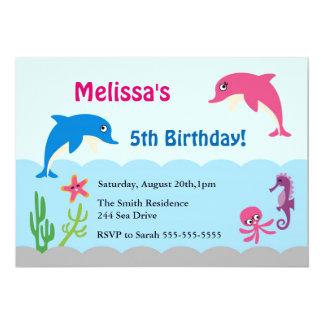 """Lindo bajo fiesta de cumpleaños del delfín del mar invitación 5"""" x 7"""""""