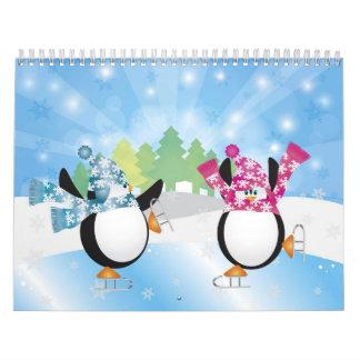 Lindo calendario los pingüinos del patinaje