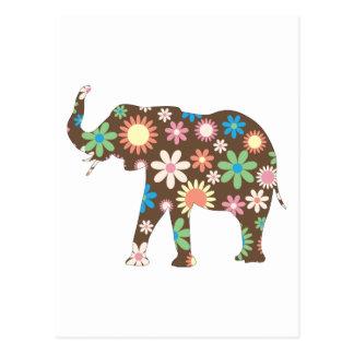 Lindo colorido de las flores florales retras enrro postal