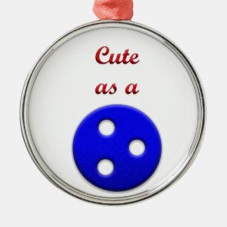 Lindo como botón adorno navideño redondo de metal
