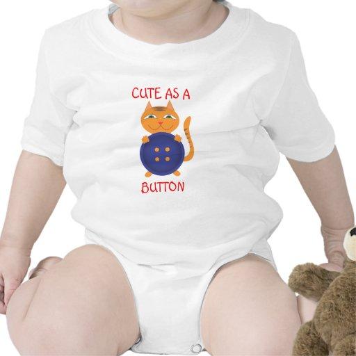 Lindo como gatito del botón trajes de bebé