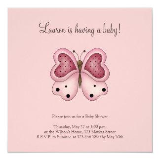 Lindo como insecto · Mariposa rosada y Cerise Invitación 13,3 Cm X 13,3cm