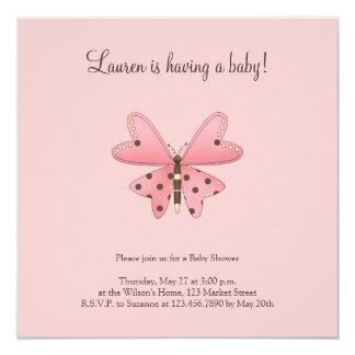 Lindo como insecto · Rosa y mariposa de Brown Invitación 13,3 Cm X 13,3cm