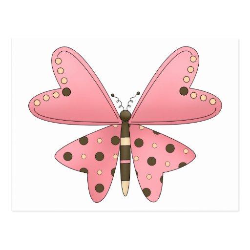 Lindo como insecto · Rosa y mariposa de Brown Postal