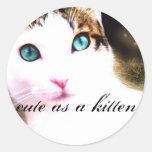 lindo como pegatinas de un gatito pegatina redonda