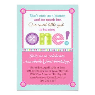 """Lindo como primer cumpleaños del botón (foto) invitación 5"""" x 7"""""""